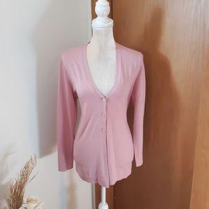 NWOT J. Jill Wool Blend Soft Rose Pink Cardigan S